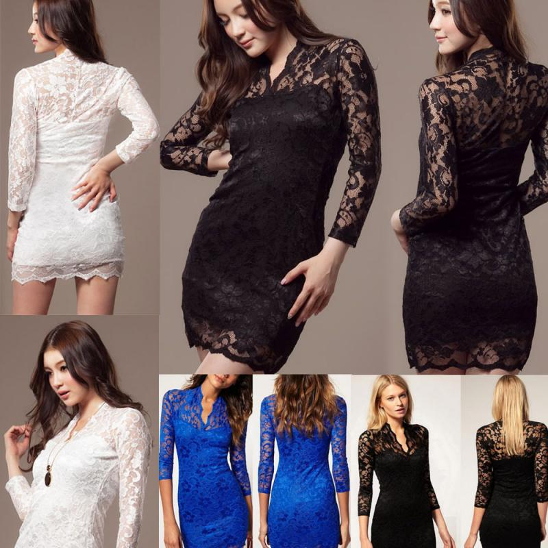 Fashion Women Sexy V Neck Lace Slim Ladies Cocktail Clubbing Party Mini Dress