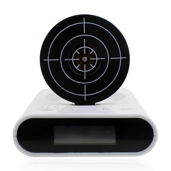 Gun Alarm Clock Target Wake Up Shooting Game Toy Novelty: LCD Screen Gun Alarm Clock Shooting Target Stop Panel Game