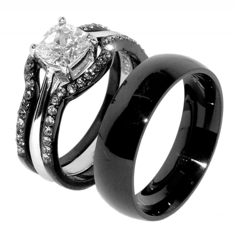 his hers 4 pcs black ip stainless steel wedding ring setmens matching band - Jcpenney Wedding Ring Sets