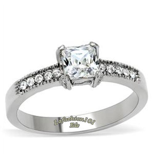 princess cut cz womens stainless steel wedding engagement