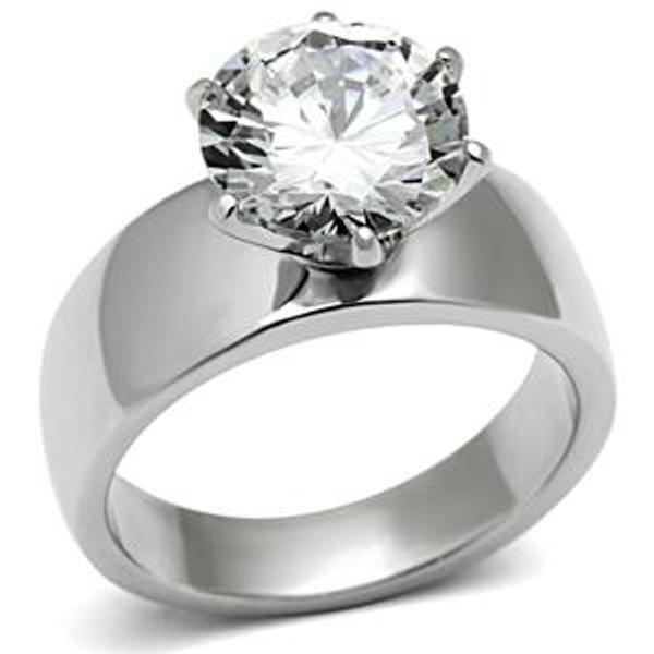 wide band solitaire cz womens stainless steel wedding ring With womens wide band wedding rings