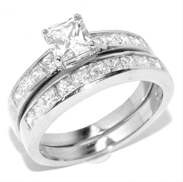 316 Stainless Steel Tarnish Free Princess Cut CZ Women Engagement Ring Set SZ
