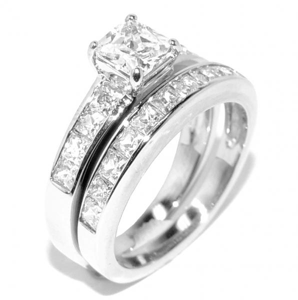 stainless steel wedding ring sets 3 pcs all stainless steel his engagement wedding 7661