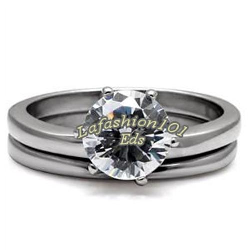 ... 3ct Solitaire CZ Stainless Steel Wedding/Engage ment Ring Set SIZE 10