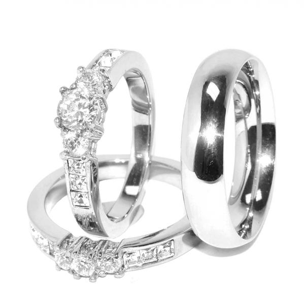His Hers All Stainless Steel Engagement 2 Rings Set And Mens Matching B