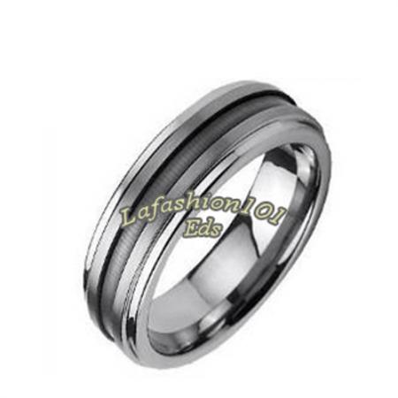 6mm tungsten carbide center grooved mens wedding ring size 12 etun628