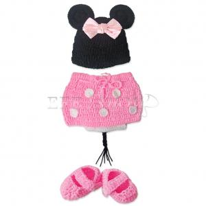 neu baby m dchen minnie mouse maus kost m set strick h kel outfit fotoshooting. Black Bedroom Furniture Sets. Home Design Ideas