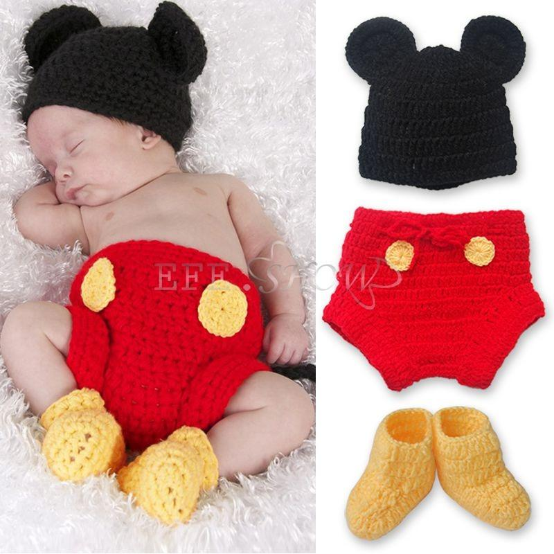 91db8cc82736 Baby Boy Crocheted Christening Outfit Newborn Crochet Outfits: 3pcs Baby  Boy Girl Mickey Mouse Hat+ Botton+ Boots Crochet