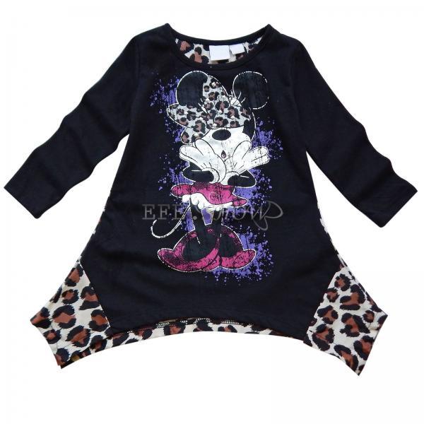 New Minnie Mouse Girl Kid Black Leopard Top Dress T Shirt Costume Clothing Sz 5