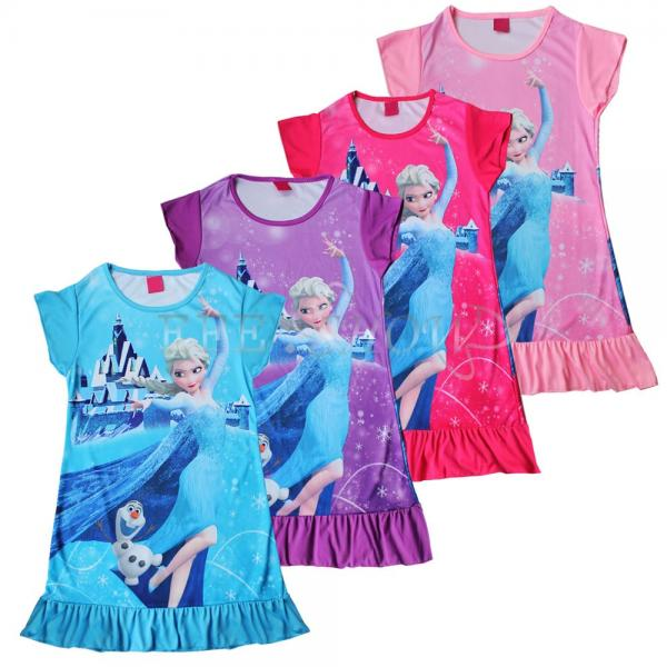 New Girls Frozen Queen Princess Elsa Pajamas Nightgown Sleepwear ...