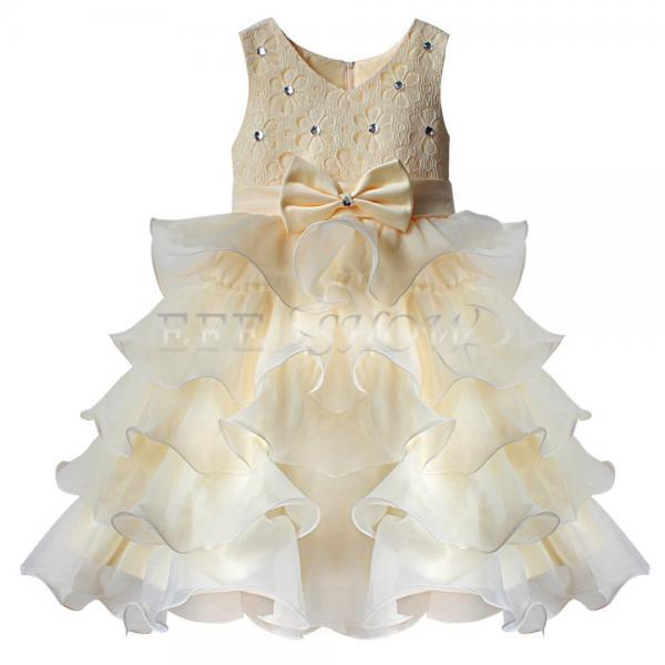 enfant fille b b princesse robe tenue de soir e mariage ceremonie bapteme beige. Black Bedroom Furniture Sets. Home Design Ideas