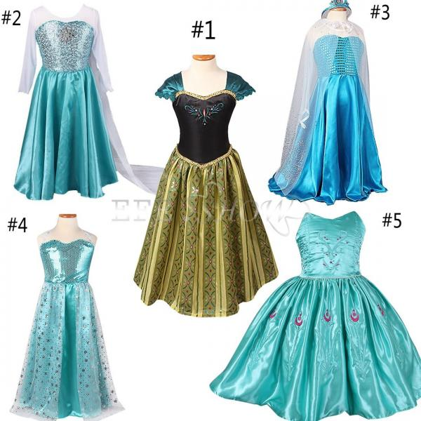 m dchen frozen anna t ll kleid elsa fancy kost m cosplay party dress eisk nigin ebay. Black Bedroom Furniture Sets. Home Design Ideas