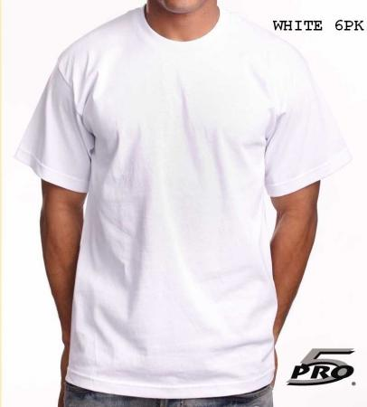 Pro 5 Heavyweight Shortsleeve White T Shirts 6pk Size Sm