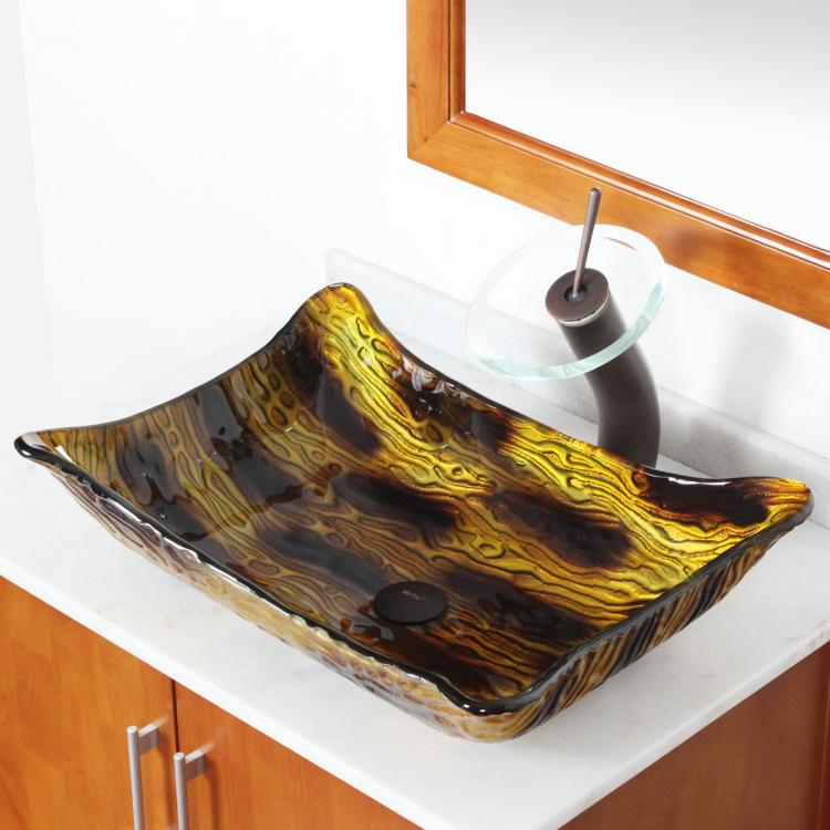 New Bathroom Long Square Unique Color Bathroom Glass Vessel Sink For Faucet