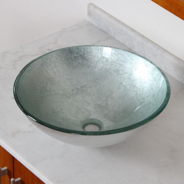 ... New Tempered Glass Bathroom Vessel Sink Silver Pattern For Vanity 1308