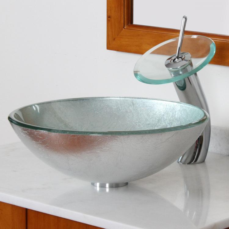 Bathroom Glass Vessel Sink With Silver Pattern & Chrome ...