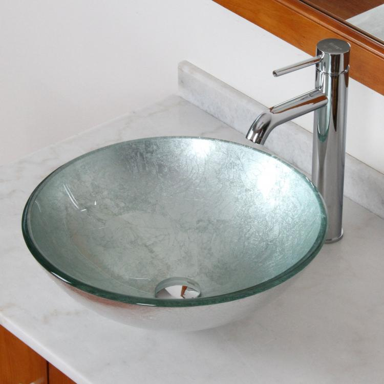 ... Bathroom Glass Vessel Sink With Silver Pattern & Chrome Faucet Combo