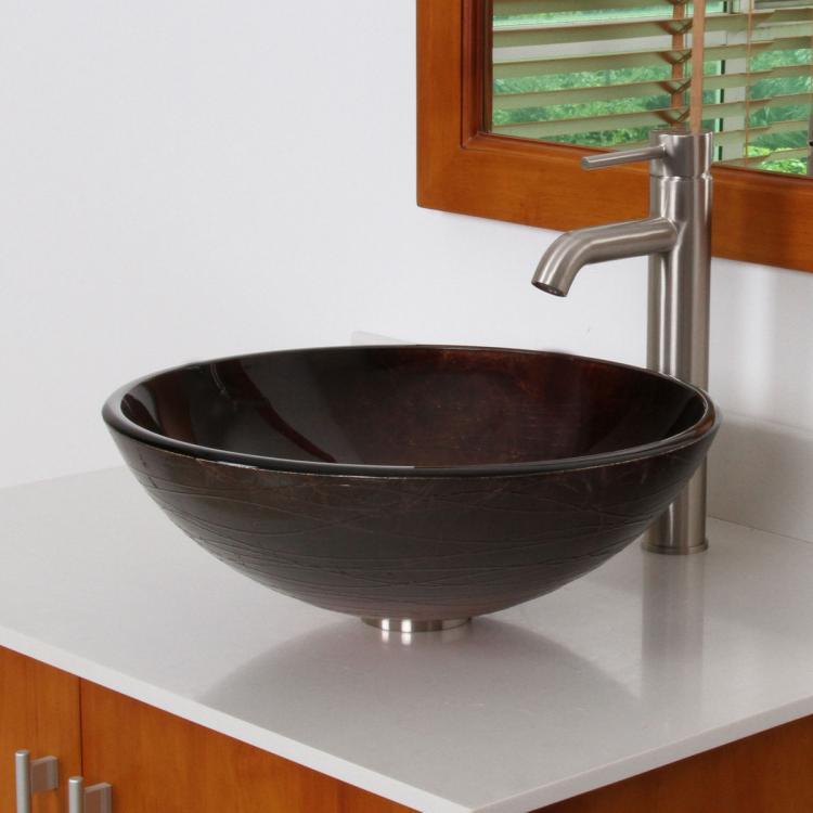 Unique Color Tempered Bathroom Glass Vessel Sink & Brushed Nickel ...