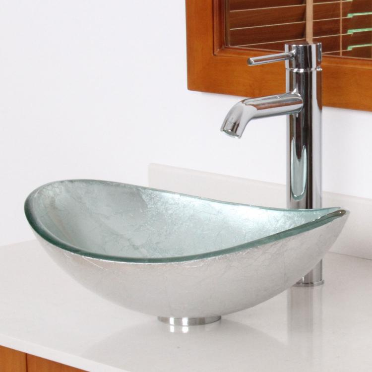 Unique Oval Artistic Silver Bathroom Glass Vessel Sink Chrome Faucet Combo Ebay