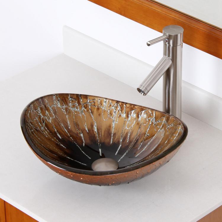bathroom unique oval artistic glass vessel sink brushed nickel faucet combo ebay. Black Bedroom Furniture Sets. Home Design Ideas