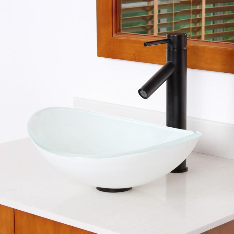 Bathroom 16 Oval White Painting Glass Vessel Sink Oil Rubbed Bron