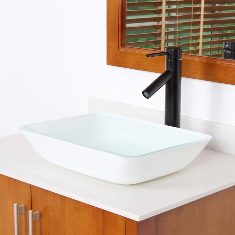 Bathroom Rectangle White Painting Glass Vessel Sink Oil Rubbed Bronze F