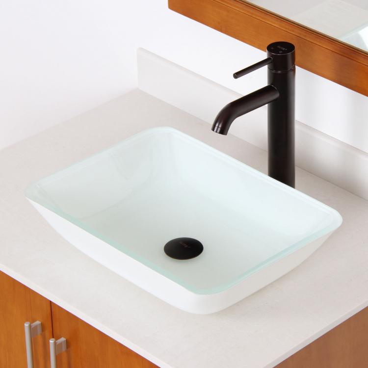 ELITE Bathroom Rectangle White Painting Glass Sink Oil Rubbed Bronze Fa