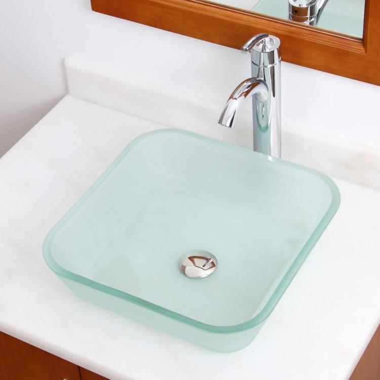 elite frosted square bathroom glass vessel sink chrome faucet combo 882002. Black Bedroom Furniture Sets. Home Design Ideas