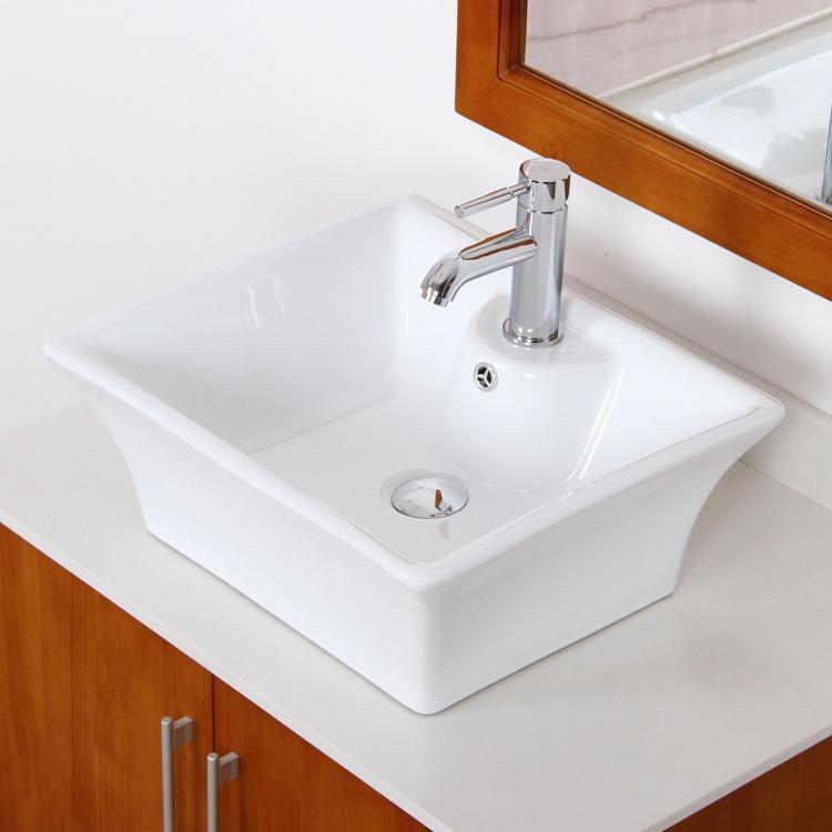 Bathroom Square White Ceramic Porcelain Vessel Sink Chrome Faucet Combo Ebay