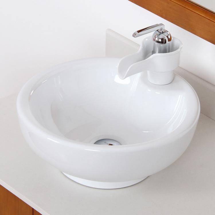Bathroom White Bowl Round Ceramic Porcelain Vessel Sink Ceramic Faucet Combo Ebay