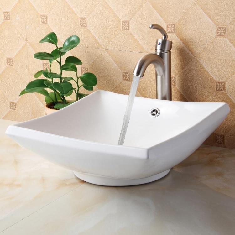 Square White Vessel Sink : Elite Bathroom Square White Ceramic Vessel Sink Nickel Faucet Combo ...