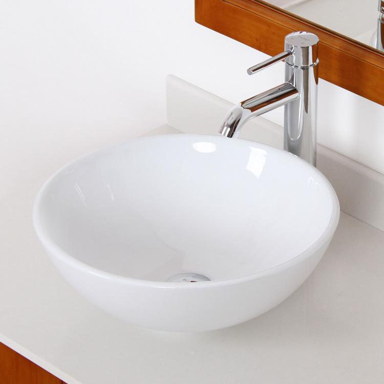 Vessel Vanity Sink Combo : ... White Porcelain Ceramic Vessel Sink & Chrome Faucet Combo for Vanity