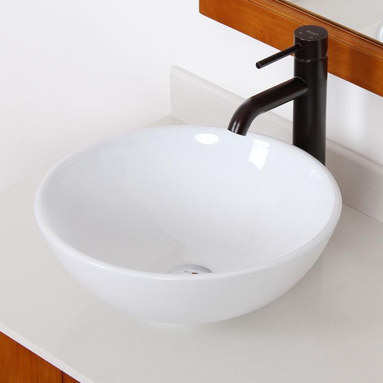 bathroom round ceramic porcelain vessel sink oil rubbed bronze faucet combo ebay. Black Bedroom Furniture Sets. Home Design Ideas