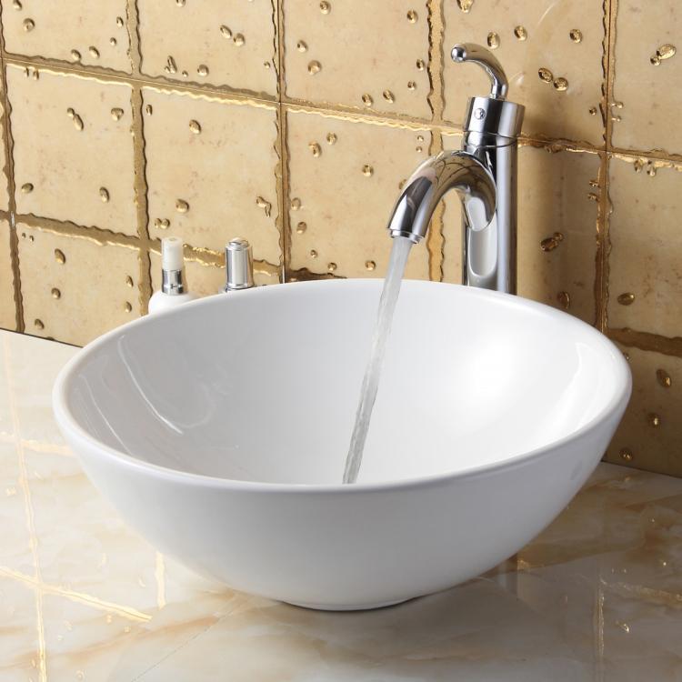 elite bathroom round white ceramic vessel sink chrome faucet combo 4157 ebay. Black Bedroom Furniture Sets. Home Design Ideas