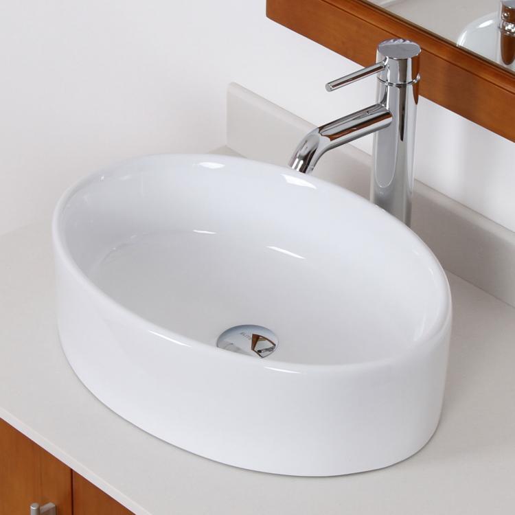 ... Oval White Ceramic Porcelain Vessel Sink & Chrome Faucet Combo eBay