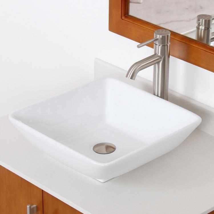 New Bathroom Square White Ceramic Porcelain Vessel Sink Nickel Faucet Combo Ebay