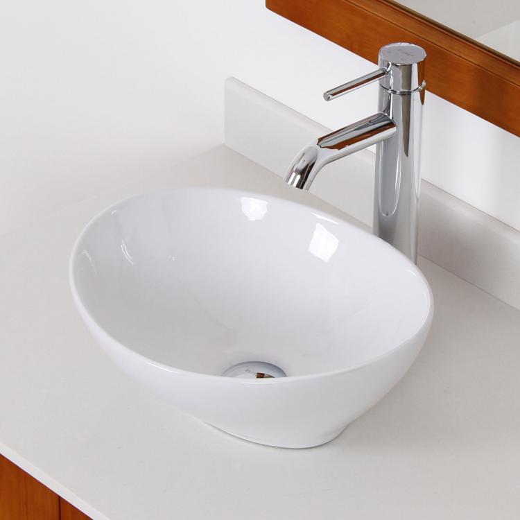 ... Style White Ceramic Porcelain Vessel Sink & Chrome Faucet Combo eBay