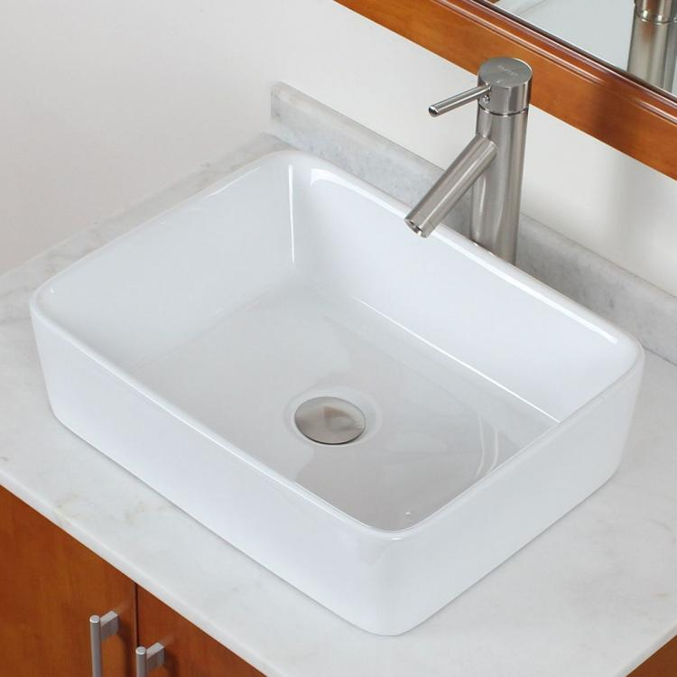 Bathroom Square White Ceramic Porcelain Vessel Sink & Nickel Faucet ...