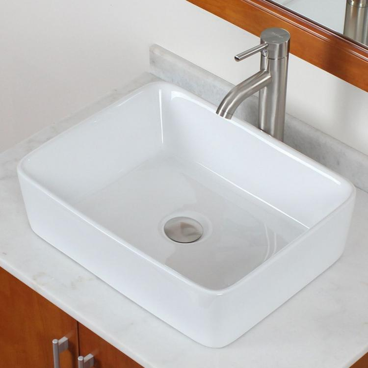 Square Vessel Sink White : Bathroom Square White Ceramic Porcelain Vessel Sink Nickel Faucet for ...