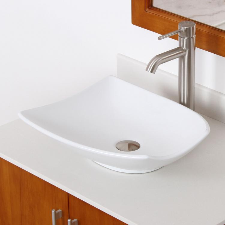 Shell Bathroom Sink : New Bathroom Shell Shape Ceramic Porcelain Vessel Sink Nickel Faucet ...