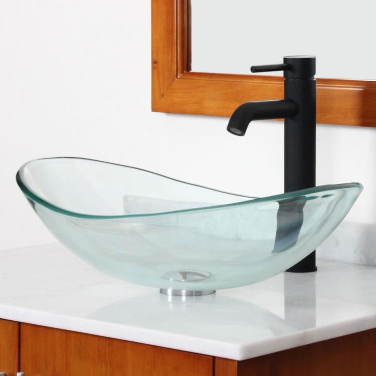 Bathroom Vanity Vessel Sink Combo : ELITE Bathroom Clear Oval Glass Vessel Sink Faucet Drain Combo Vanity ...