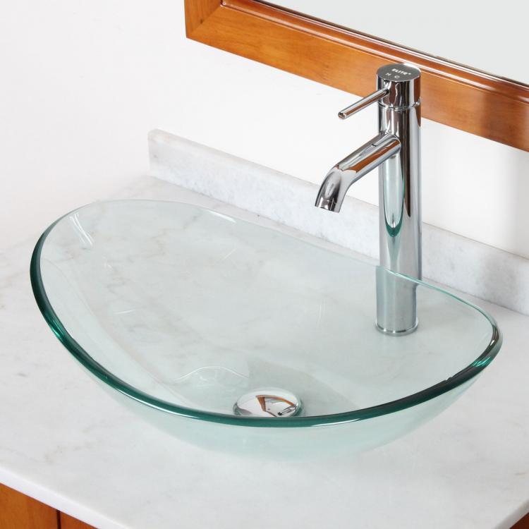 Bathroom Clear Boat Shape Glass Vessel Sink Chrome Single Lever Faucet Combo Ebay
