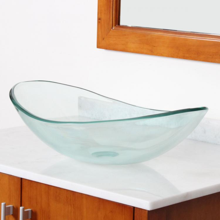 Bathroom Clear Boat Shape Glass Vessel Sink For Vanity Faucet Ebay