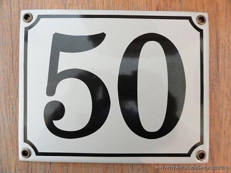 Classic enamel antique style number 50 door plaque house for Classic house number plaque