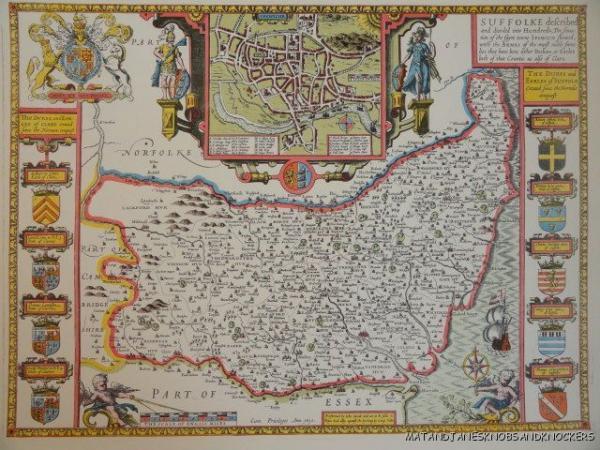 OLD COPY OF JOHN SPEED MAP OF SUFFOLKE SUFFOLK IPSWICH EBay - Old map shop london