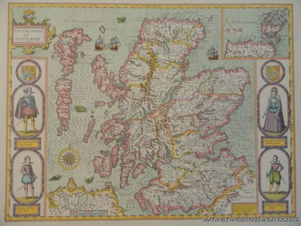 OLD COPY OF JOHN SPEED MAP OF THE KINGDOME OF SCOTLAND ISLES OF - Old map shop london