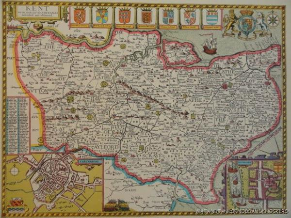 OLD COPY OF JOHN SPEED MAP OF KENT CANTERBURY ROCHESTER TOWN PLAN - Old map shop london
