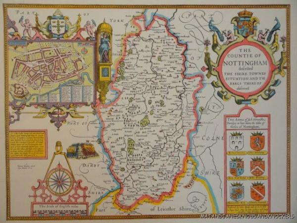 OLD COPY OF JOHN SPEED MAP OF NOTTINGHAM TOWN AND EARLS TOWN PLAN - Old map shop london