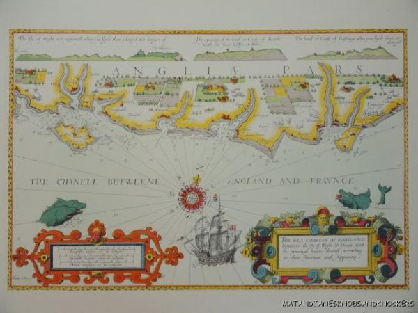 OLD COPY OF ANTIQUE MAP S SEA COASTS OF ENGLAND ISLE OF WIGHT - Old map shop london