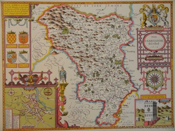 The Map Shop London.Details About Old Copy Of John Speed Map Of Derbyshire Derby Town Plan 1610 Buxton